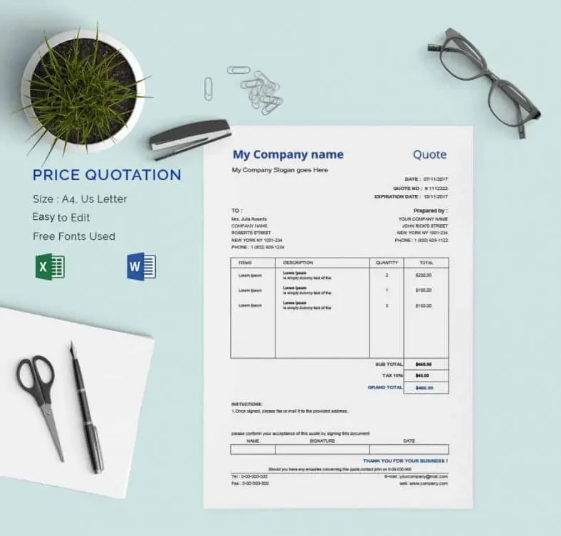 18+ Price Quotation Templates - DOC, PDF,XLS Free  Premium Templates - quotation design template