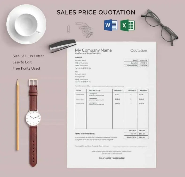 18+ Price Quotation Templates - DOC, PDF,XLS Free  Premium Templates - Price Quotation Format