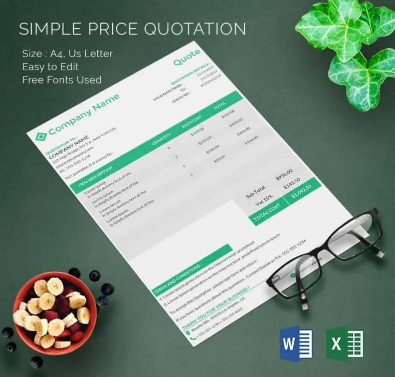Price Quotation Template - 18+ Free Word, Excel, PDF Documents - audit quotation