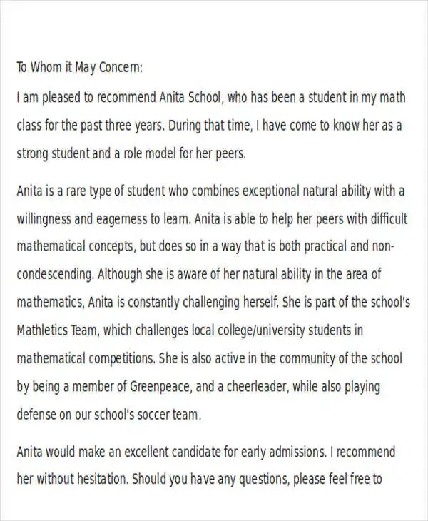 39+ Free Recommendation Letter Templates Free \ Premium Templates - college recommendation letter