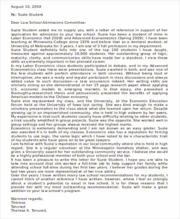 41+ Recommendation Letter Example Templates Free \ Premium Templates - law school recommendation letter sample
