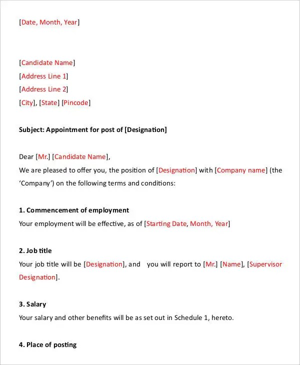 Appointment Letter simpletext - job appointment letter