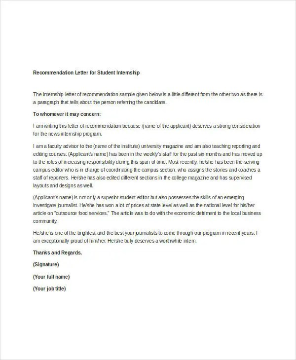 37+ Simple Recommendation Letter Template - Free Word, PDF - letters of recommendation for student
