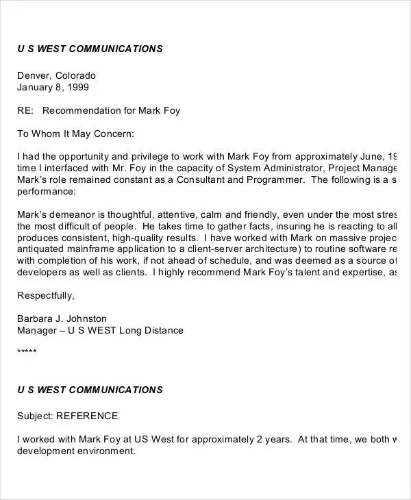 37+ Simple Recommendation Letter Template - Free Word, PDF Documents