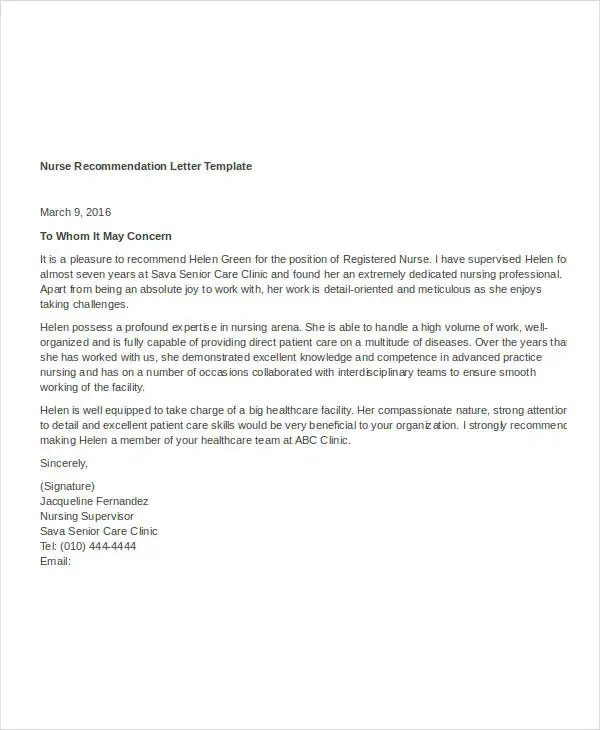 Reference Letter For School Nurse  Research Proposal Template Uk