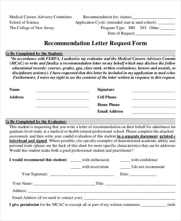 37+ Simple Recommendation Letter Template - Free Word, PDF Documents - recommendation letter request