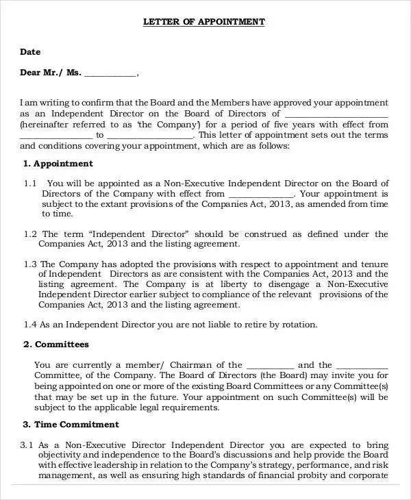 Appointment Letters - 18+ Free Word, PDF Documents Download Free - executive letter template