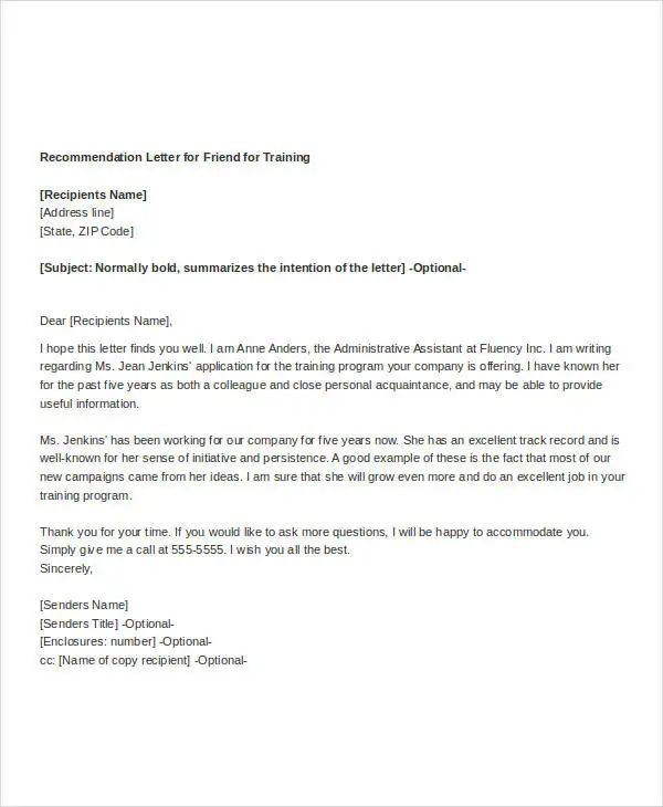 recommendation letter sample for a friend