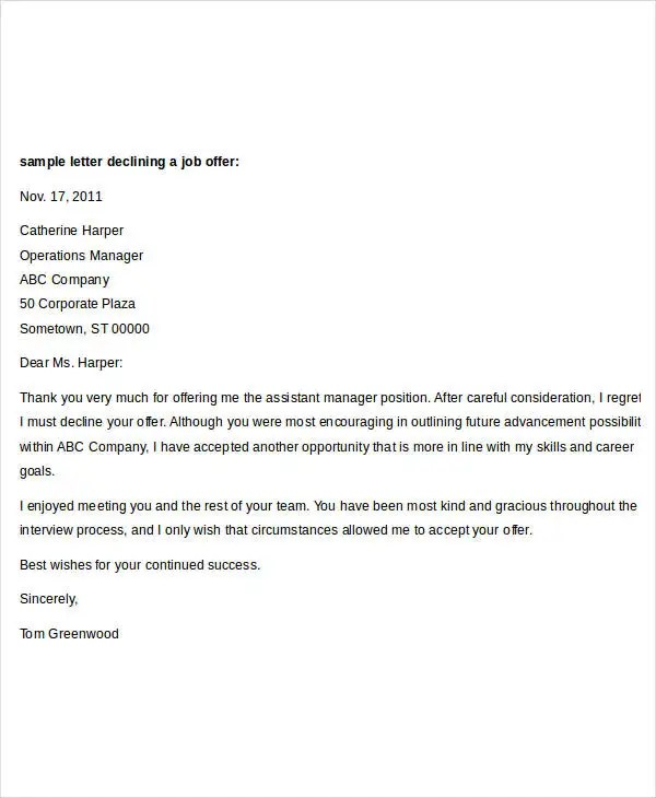 How To Decline A Job Offer With Letter Examples Sample Letter Declining Job Offer Due Low Salary Cover