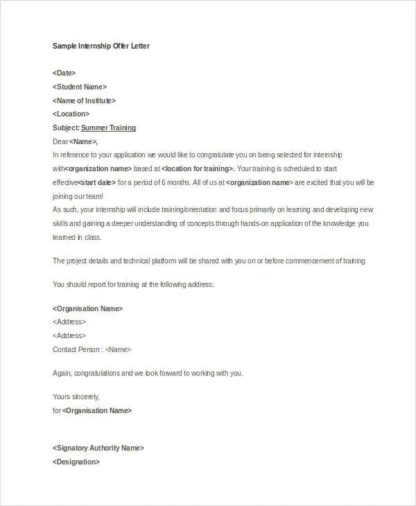 Offer Letter Templates in Doc - 50+ Free Word, PDF Documents - offer letters