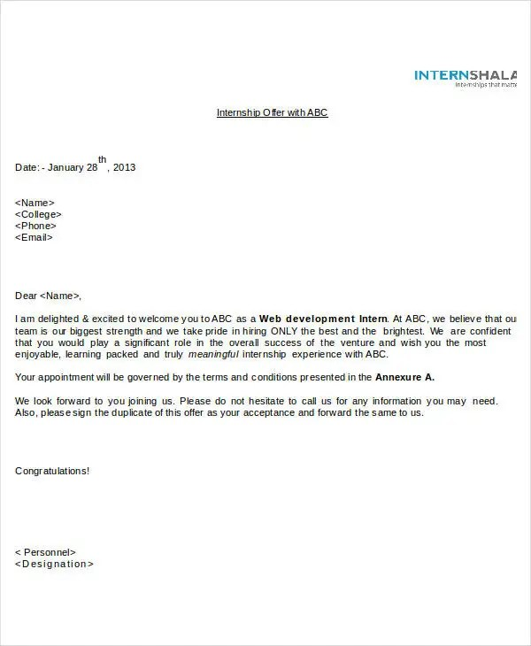Offer Letter Templates in Doc - 50+ Free Word, PDF Documents - sample offer letters