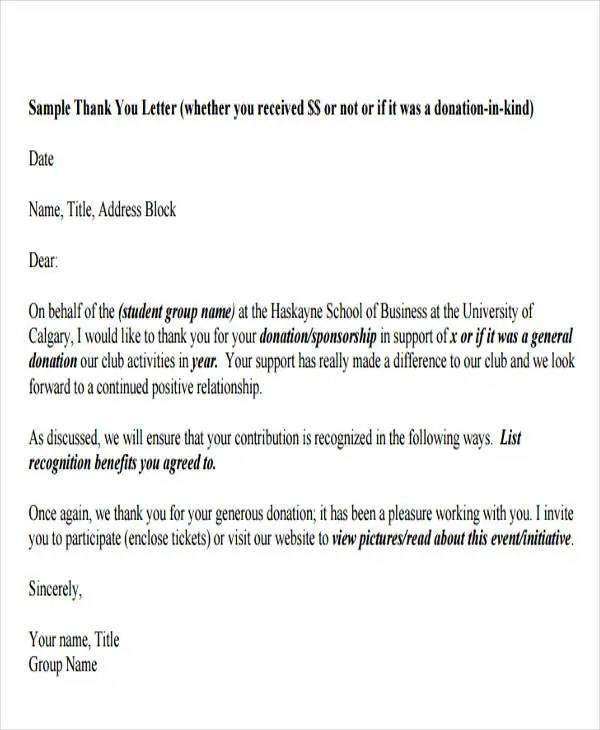 In Kind Donation Thank You Letter Template - Letter Idea 2018 - donation thank you letter