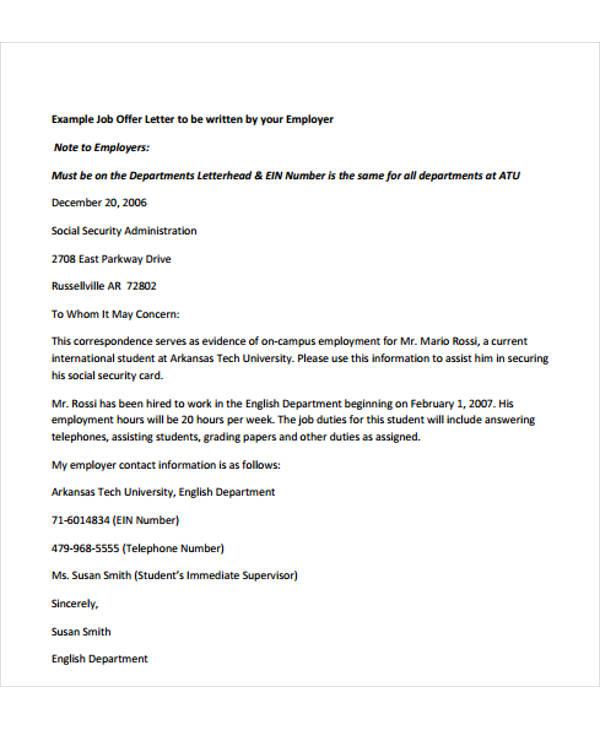 acceptance of offer letter
