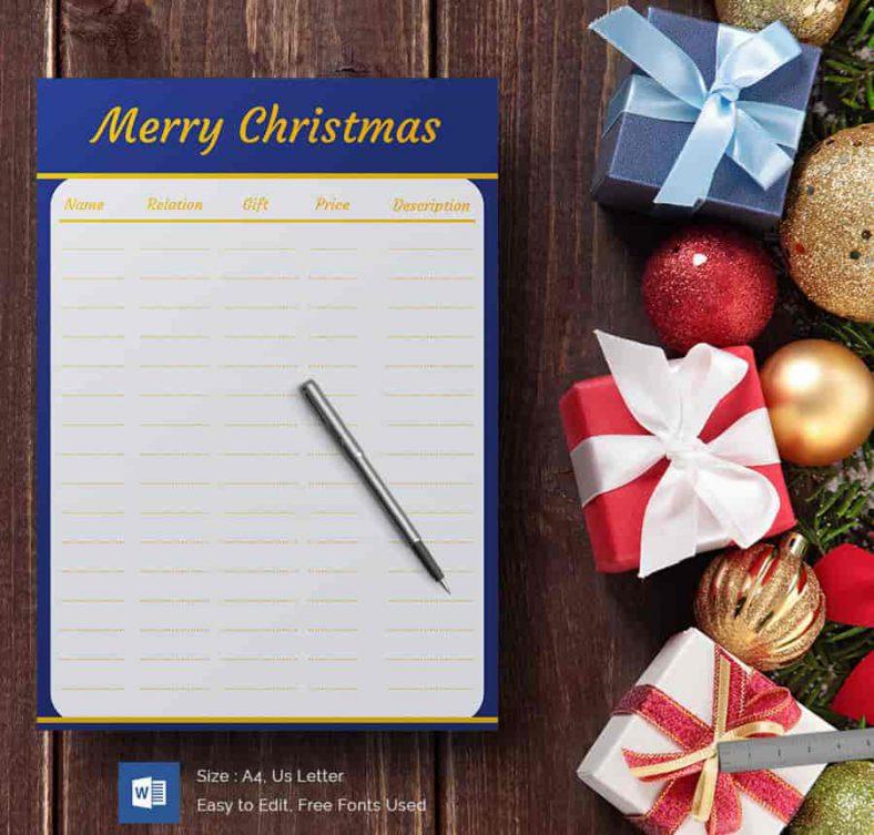 24+ Christmas Gift List Templates - Free Printable Word, PDF, JPEG