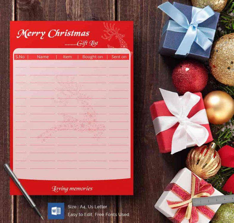 27+ Christmas Gift List Templates - Free Printable Word, PDF, JPEG