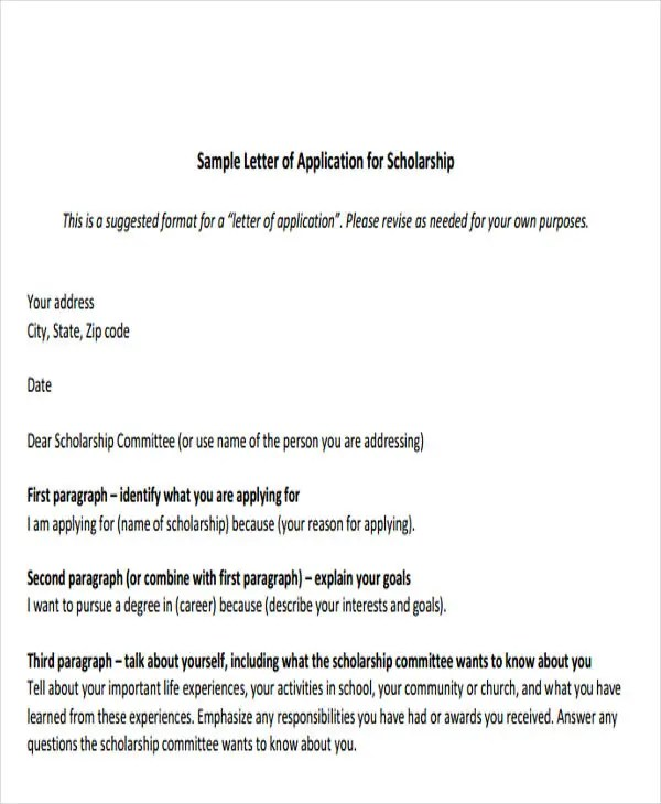 Sample Of Cover Letter For Scholarship Application  Professional