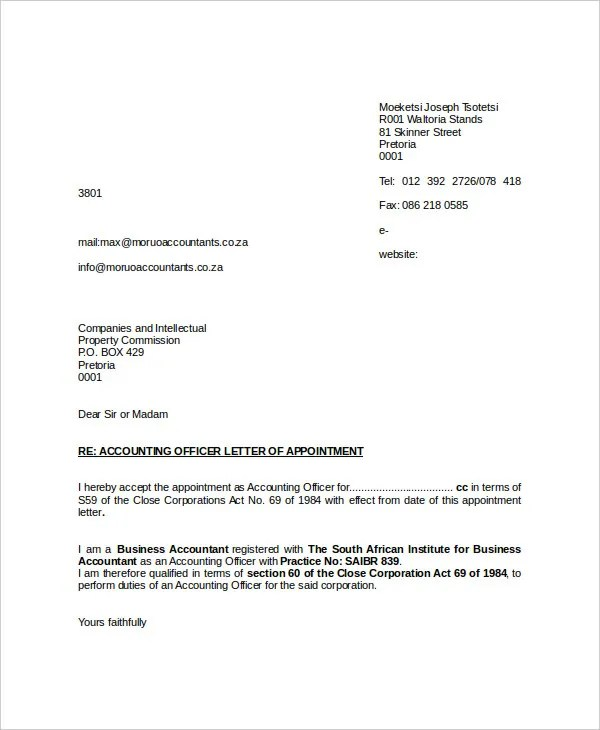 Official Appointment Letter Format Gallery - letter format formal - format for appointment letter