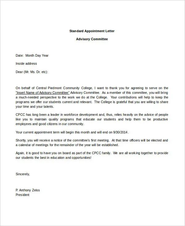 letter of recommendation for appointment to board