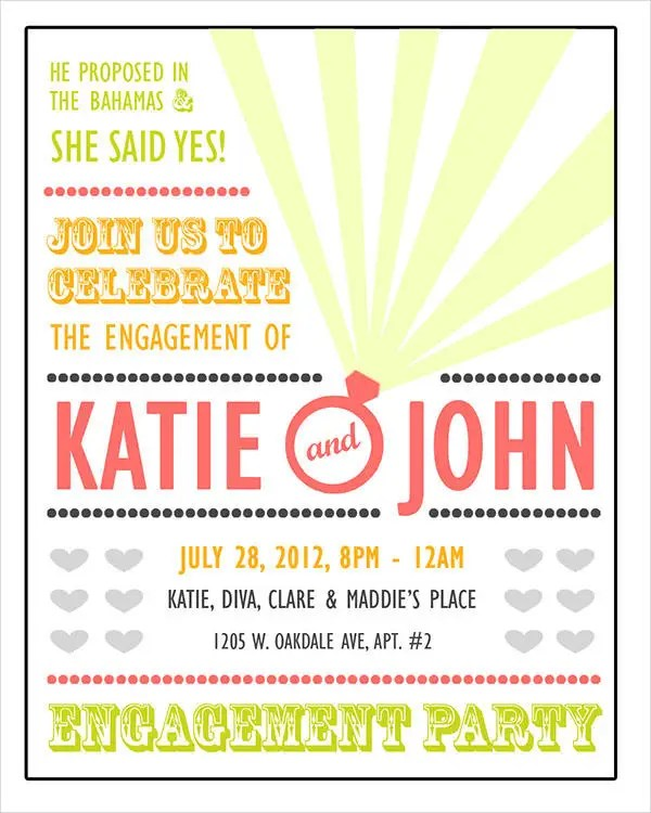 40+ Printable Engagement Invitations Templates Free  Premium - free engagement party invites
