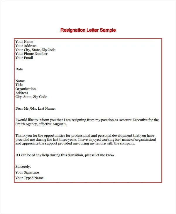 8+ Short Resignation Letter Templates - Free Sample, Example, Format
