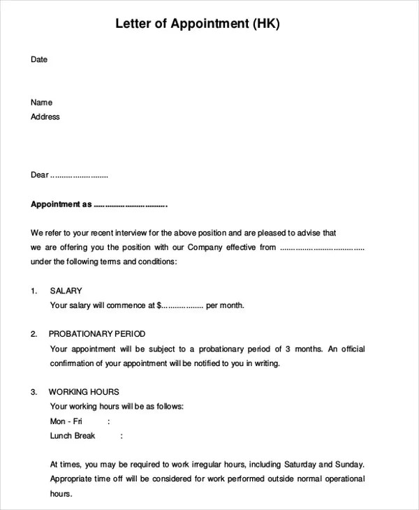9+ Employee Appointment Letter Templates Free  Premium Templates