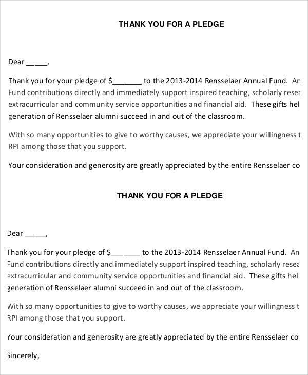 pledge letter for donation