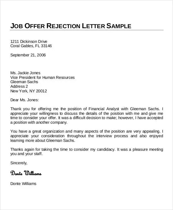 sample thank you email for job offer