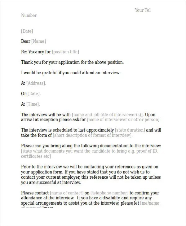 11+ Interview Appointment Letter Templates - Free PDF, Word, Google