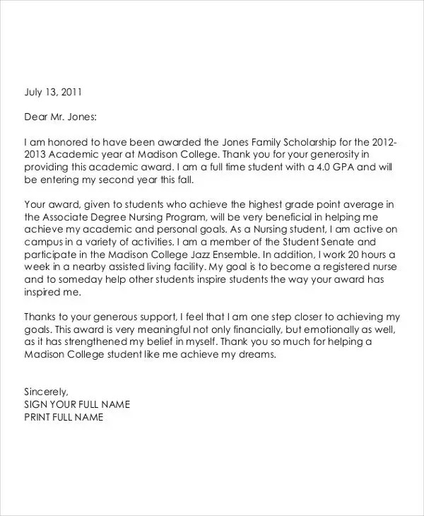 Award Thank You Letter Nursing Scholarship Thank You Letter 69+ - scholarship acceptance letter