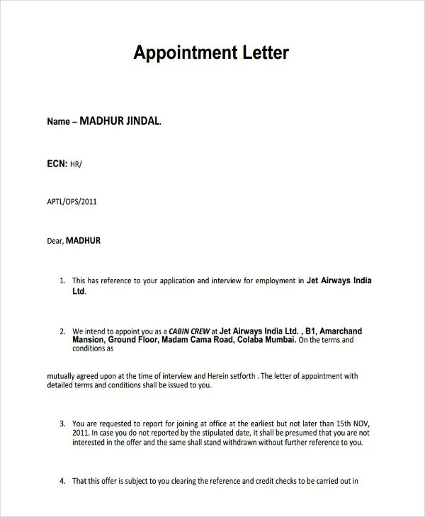 Appointment Letters Offer Letter Templates Free Word Pdf Format