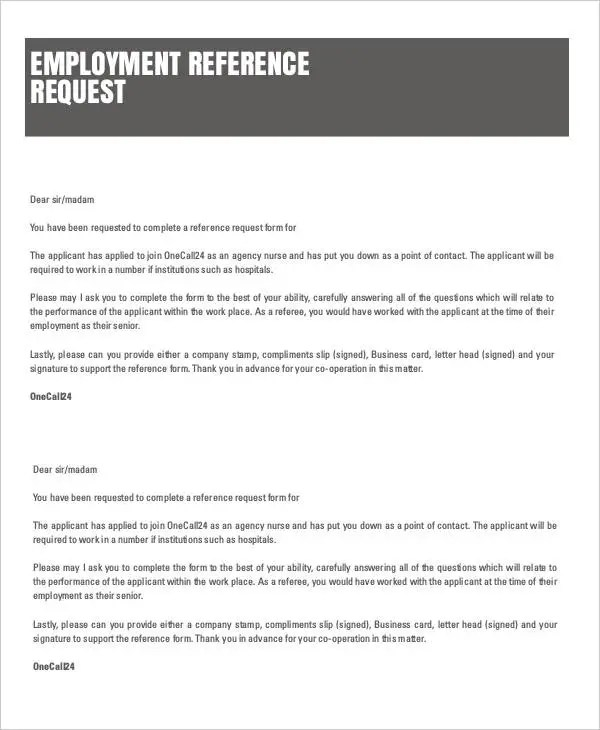 Reference Letter Examples - 29+ Free Word, PDF DOcuments Download - employee reference form template