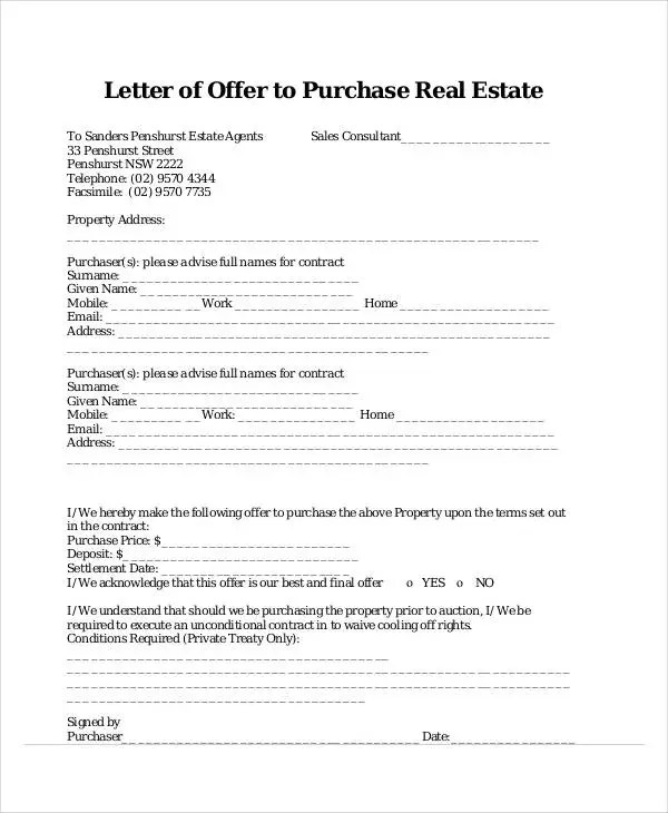 34+ Offer Letter Examples - Free Word, PDF Documents Download - real estate offer letter