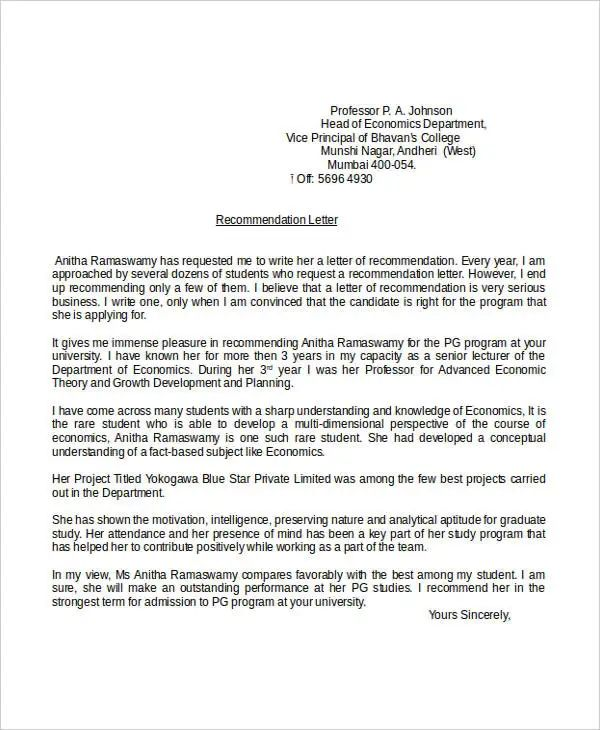 academic letter recommendation template
