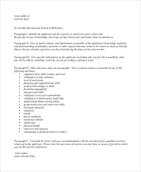 reference letter request
