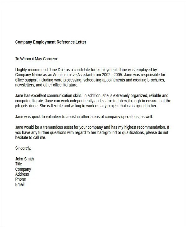 41+ Sample Reference Letter Templates Free  Premium Templates