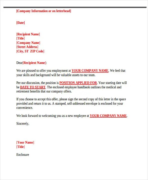 73+ Offer Letter Templates Free  Premium Templates