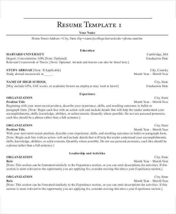 harvard resume template pdf