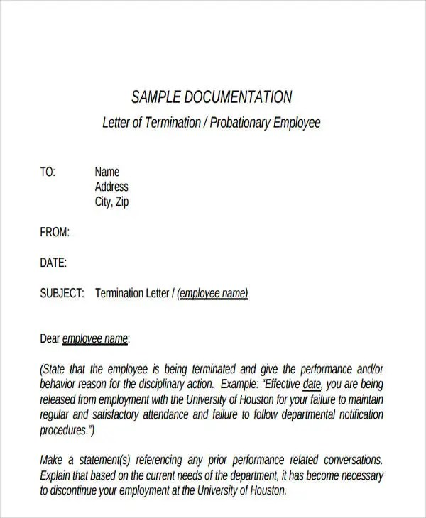 Termination Letter Format Templates Free \ Premium Templates - employee termination letter