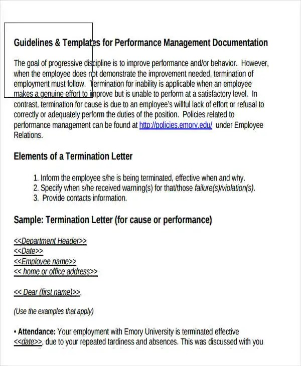 Employee Termination Guide Performance Appraisal Template - employee termination guide