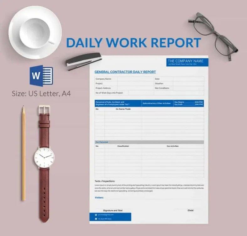 Daily Report Template - 57+ Free Word, Excel, PDF Documents - progress reports templates