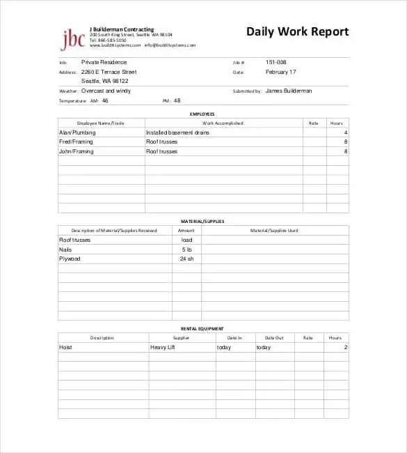 report daily work - Ozilalmanoof - daily work report template