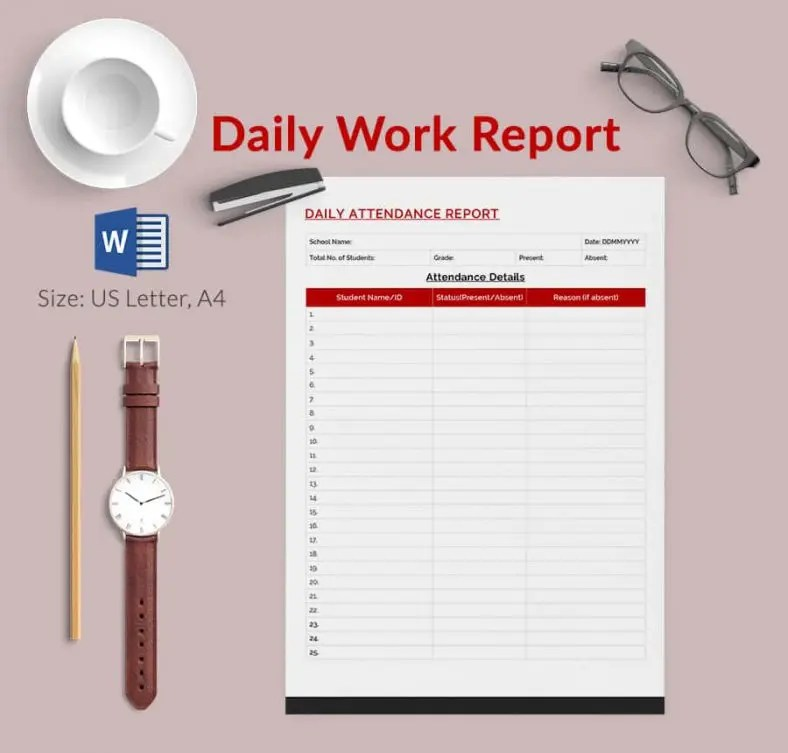 Daily Report Template - 57+ Free Word, Excel, PDF Documents - project report template word
