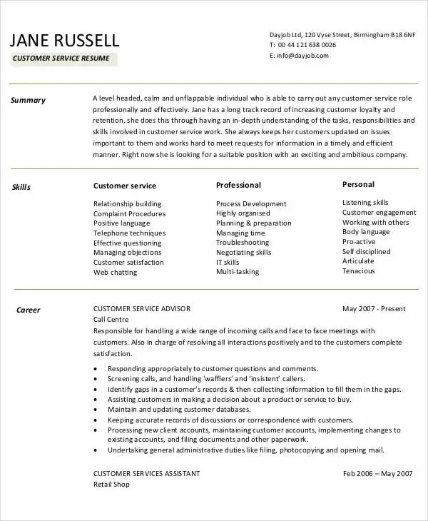 38 sample resume templates free premium templates example of customer service resume