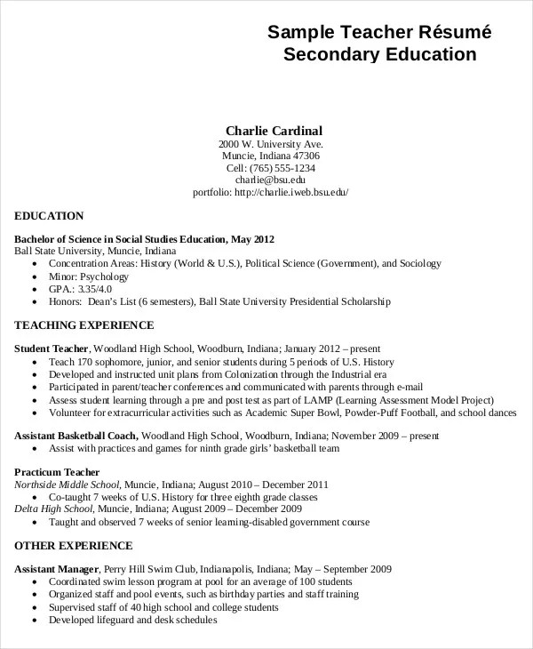 teacher resume format 51 teacher resume templates free sample - middle school resume