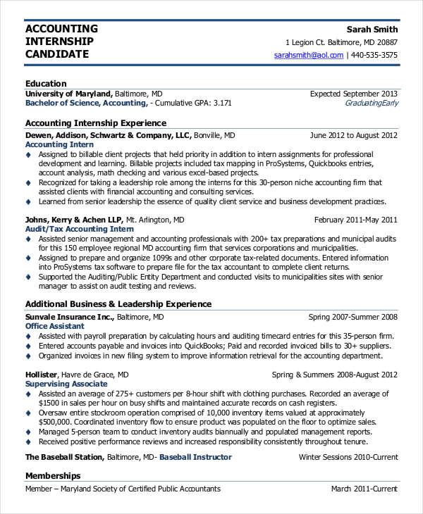 summer internship resume templates
