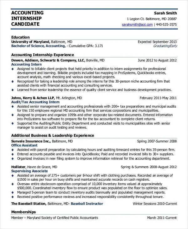 sample resume in accounting field