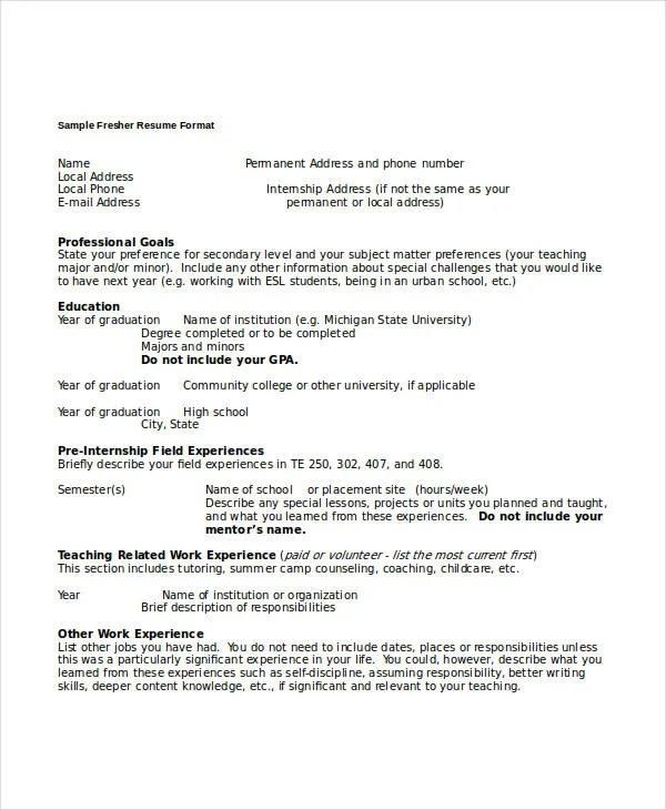 44+ Sample Resume Templates Free  Premium Templates - brief resume format