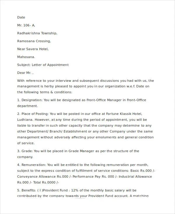 Company Appointment Letter Template - 10+ Free Word, PDF Format