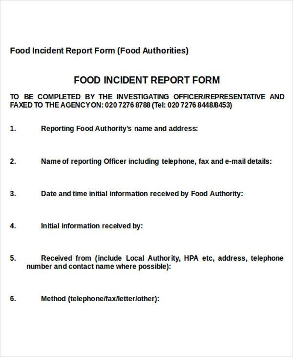 food incident report sample - Goalgoodwinmetals