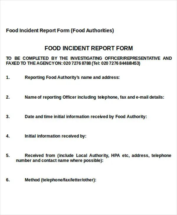 food incident report sample